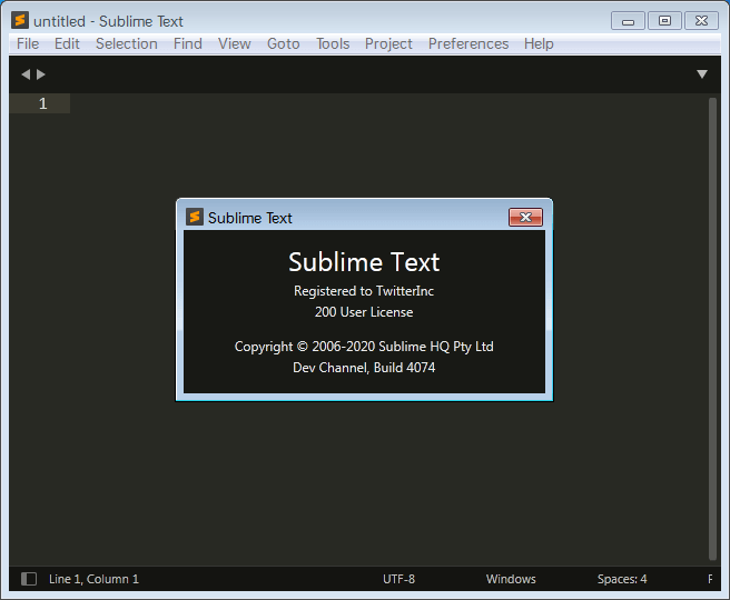 Sublime Text 4.0.0 Build 4074